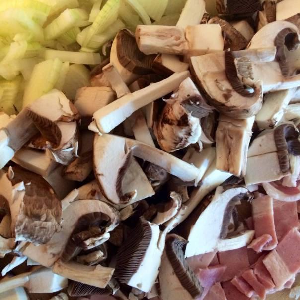 Onions, bacon,mushrooms